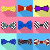 Elegant Bow Tie Icon Set. Flat Set Of 9 Elegant Bow Tie Vector Icons For Web Design Isolated On Whit poster