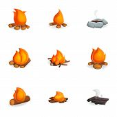 Hot Campfire Icon Set. Cartoon Set Of 9 Hot Campfire Vector Icons For Web Design Isolated On White B poster