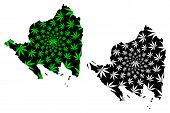 Lampung (subdivisions Of Indonesia, Provinces Of Indonesia) Map Is Designed Cannabis Leaf Green And  poster