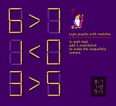 Logical Puzzle Game With Matches. In Each Task Add 1 Matchstick To Make The Inequalities Correct. Pr poster