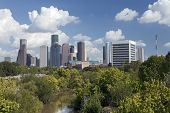 stock photo of bayou  - Houston Skyline with a Park and a River in the Foreground - JPG