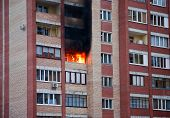 pic of tenement  - Fire in one of the apartments of a large tenement - JPG