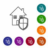 Grey Line House Under Protection Icon Isolated On White Background. Home And Shield. Protection, Saf poster