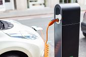 Power Supply For Electric Car Charging. Electric Car Charging Station. Close Up Of The Power Supply  poster