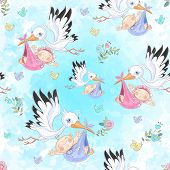 Seamless Pattern For The Birth Of A Child. Stork With Baby. Vector poster