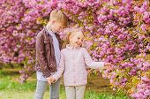 Tender Love Feelings. Little Girl And Boy. Romantic Date In Park. Spring Time To Fall In Love. Kids  poster