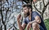 Man With Beard Breathe Out Smoke. Clouds Of Flavored Smoke. Stress Relief Concept. Bearded Man Smoki poster