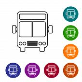 Grey Line Bus Icon Isolated On White Background. Transportation Concept. Bus Tour Transport Sign. To poster