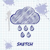 Sketch Line Cloud With Rain Icon Isolated On White Background. Rain Cloud Precipitation With Rain Dr poster