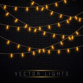 Yellow Christmas Lights Isolated Realistic Design Elements.christmas Lights Isolated On Transparent  poster