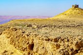 View Of Makhtesh (crater) Ramon With Camel Mount Lookout, In The Negev Desert, Southern Israel. It I poster