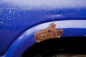 Close-up Of Old Blue Car Paint Broken, Crack Color Of Automobile.car Paint Cracks, Cracked Painted M poster