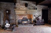 Fireplace Old Dark Hall, Brick Walls, Old Old Decor, Utensils, Tenuta, Winery, Chateau, Castle, Fami poster