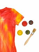 Two Open Cans Of Paint, A Brush And A T-shirt In The Style Of Tie Dye On A White Background. Stainin poster