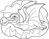 Cartoon Cute Prehistoric Dinosaur Pterodactyl, Coloring Book, Funny Illustration poster