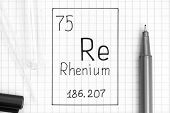 The Periodic Table Of Elements. Handwriting Chemical Element Rhenium Re With Black Pen, Test Tube An poster