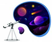 Isometric Astronomical Observatory Dome. Astronomical Telescope Tube And Cosmos. Astronomer Looking  poster