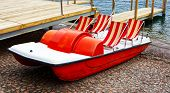 Classical Pedal Boat On The Lake Shore Of Lugano, Switzerland poster