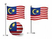 Malaysia Flag On Pole And Ball. Metal Flagpole. National Flag Of Malaysia Vector Illustration poster