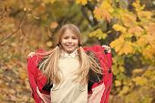 Girl Happy Wear Coat With Hood Enjoy Fall Nature. Child Wear Coat For Fall Season. Fall Clothes And  poster