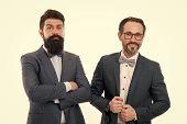 Partnership. Bearded Men. Partnership Collaboration. Mature Men Partnership. Confident Men. Business poster