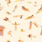 Swimming People Pattern. Summer Seamless Print Of Ocean Beach With Cartoon Persons Doing Water Activ poster