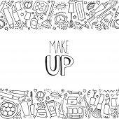 Make Up Doodle Horizontal Pattern With Lipstick, Cream, Mascara, Powder, Shades, Brush, Handwritten  poster