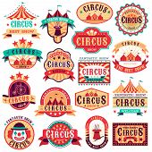 Circus Emblems. Carnival Festival, Fun Circus Show Retro Paper Signboard Invitational Banners Event  poster