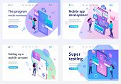 Set Isometric Landing Pages, Concept Mobile Application Testing, Mobile Application Development And  poster