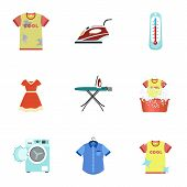 Domestic Wash Icon Set. Flat Set Of 9 Domestic Wash Vector Icons For Web Design Isolated On White Ba poster