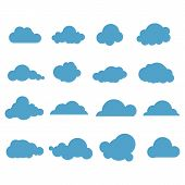 Clouds. Blue Sky With Different Cloud Shapes. Cute Summer Cloudscape, Cloudy Landscape, Simplicity N poster