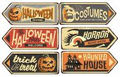 Halloween Signs Collection. Vintage Vector Signpost For Halloween Festival, Costumes Shop, Horror Mo poster