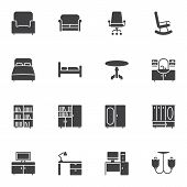 Furniture Vector Icons Set, Modern Solid Symbol Collection, Filled Style Pictogram Pack. Signs, Logo poster