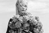 Allergy Free Life. Stop Allergy Blooming Season. Girl Tender Blonde Hold Hydrangea Bouquet. Springti poster