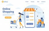 New Online Shopping Landing Page. Flat Woman Character With Shopping Bags. Delivery Drones. Website poster