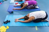 High angle of diverse fit women performing yoga together on a exercise mat in fitness center. Bright poster