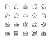 Houses Flat Line Icons Set. Home Page Button, Residential Building, Country Cottage, Apartment Vecto poster