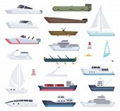 Boats. Water Sea Or Ocean Vessel Small And Big Ships And Sailor Boats Vector Cartoon Transport. Stea poster