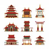 China Traditional Buildings. Cultural Japan Objects Gate Pagoda Palace Vector Cartoon Collection Of  poster