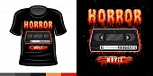 Horror Video Cassette 90s Style Vector Colored T Shirt Apparel Design Print Illustration poster