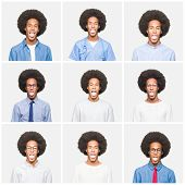 Collage of young man with afro hair over white isolated background sticking tongue out happy with fu poster