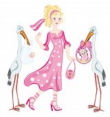 image of friendship belt  - Storks have brought baby and thoroughbred puppy to glamoor girl - JPG