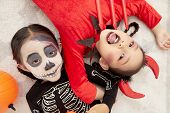 Asian Child Girls In Halloween Costumes poster