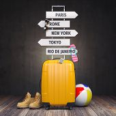 Yellow suitcase and signpost with travel destination.Tourism and  travel concept background. 3d illu poster