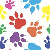 Paws. Seamless Multicolor Pattern Silhouettes Of Paws, Cats Feets, Dog Footprints. poster