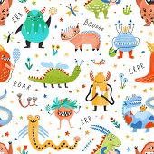 Seamless Pattern With Amusing Fantastic Monsters, Fairytale Creatures, Fantastic Beasts On White Bac poster