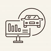 Car Analysis Line Icon. Analysis, Auto Service, Tools. Car Repair Concept. Vector Illustration Can B poster