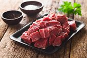 Fresh Raw Diced Red Beef Meat On Cast Iron Plate (selective Focus, Focus One Third Into The Meat) poster