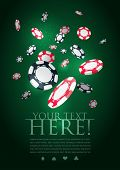Poker gambling chips poster template. Elements are layered separately in vector file.