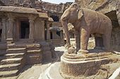 stock photo of ellora  - Elephant statue in the courtyard of an ancient Jain Temple  - JPG